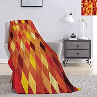 Luoiaax Geometric Faux Fur Blanket Warm Cozy Argyle Pattern with Colorful Rhombuses Classic Lozenge Geometric Arrangement Fluffy Decorative Blanket for Couch W70 x L84 Inch Multicolor