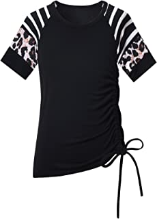 Mirawise Girls Casual Long Sleeve Shirts Tunic Tops Tee Shirt T-Shirts Side Drawstring Blouse 4-13Y