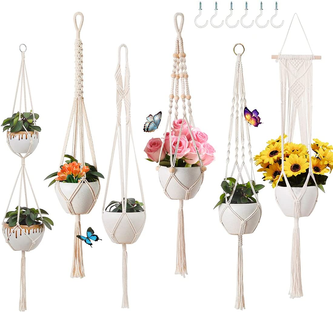 6 Pack Macrame Plant Hangers Indoor Size Different It is very popular Hanging Detroit Mall