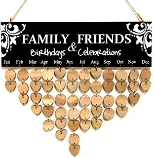 ICCQWood DIY Calendar Wall Hanging Plaque Board Family & Friends Birthday Reminder Plate Date Mark Ornament Home Decor