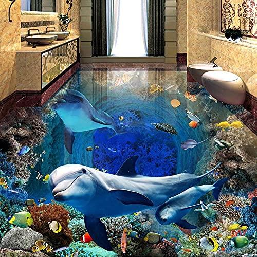 Underwater World Dolphin Pintura de suelo 3D Papel tapiz mural Impermeable Autoadhesivo Dormitorio Baño Azulejos Pegatinas Wall-150X105cm