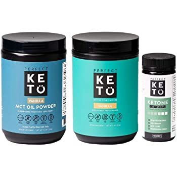 Perfect Keto Bundle - Collagen (Vanilla), MCT Oil C8 Powder (Vanilla), Ketone Test Strips | Best to Burn Fat and Support Energy | 30 Day Supply