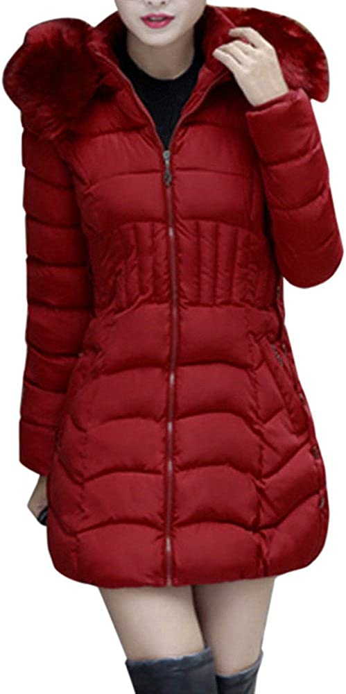 Loyalt Womens Long Fur Trimmed Hooded Padded Puffer Parka Ladies Winter Warm Cotton Quilted Jacket Oversized Coat a2 (Wine,3XL)