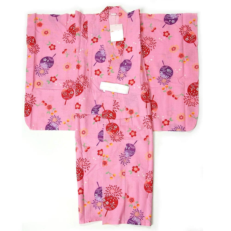 子供浴衣 女の子 120cm 7~8才 単品 ピンク地 花火柄