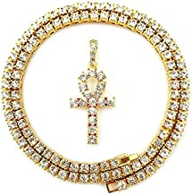 Shiny Jewelers USA Mens Hip HOP Gold ICED Out Micro Double ANKH Cross Pendant Cuban Rope Box Chain Necklace Set