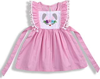 Toddler Baby Girl Easter Clothes Skirt Set Ruffle Sleeves Top+ Rabbit Print Floral Suspender Skirt Tutu Dress Outfits