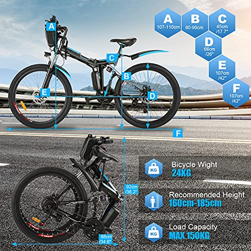 Oppikle 26'' Electric Mountain Bike with Removable Large Capacity Lithium-Ion Battery (36V 250W), Electric Bike 21 Speed Gear and Three Working Modes (Black)