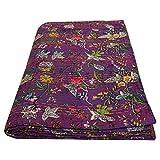 Copriletto etnico viola cotone copriletto indiano stampa floreale trapunte Boho biancheria da letto arredamento paradiso kantha trapunte hippie singolo dimensioni coperte