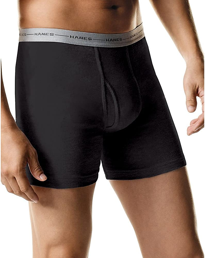 Hanes Mens Tagless Boxer Briefs with Comfort Flex Waistband 6-Pack (7349Z6) S