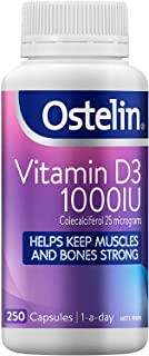 Ostelin Vitamin D3 1000IU Capsules - Maintains bone and muscle strength - Helps boost calcium absorption, 250 Capsules 250...