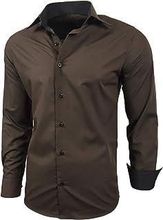 Camisa de manga larga para hombre, de corte ajustado, fácil de planchar, para trajes, trabajo, bodas, tiempo libre, R-44