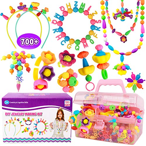 Pop Beads - 700 Pcs DIY Kids Jewelry Making Kit, Snap-Beads Kit for Toddler Girls Age 3, 4, 5, 6, 7 ,8 , Arts & Crafts Creativity Toys, Including Hairband, Necklaces, Bracelets, Rings Making Set