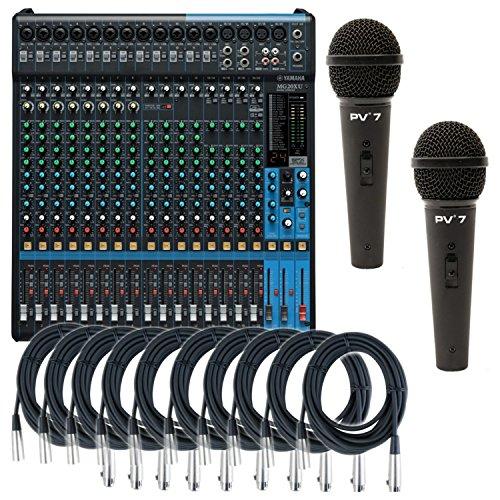 Yamaha MG20XU USB-Mischpult, 20 Eingänge, 6 Bus, mit 10 XLR-Kabel und 2 Mikrofonen