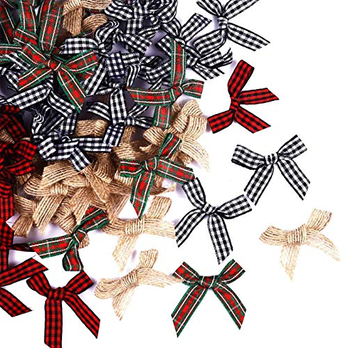 100 pcs Mini Christmas Bow,Plaid Bow Burlap Bow Buffalo Plaid Bow Red Plaid Bow Black White Buffalo Plaid Bow for Christmas Tree Ornament,Home Decor,Card Making and Christmas Craft Projects (100)