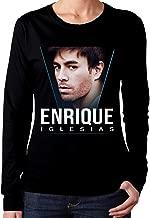 Womans Enrique Iglesias Classic Music Band Long Sleeves Tshirts Black Gift