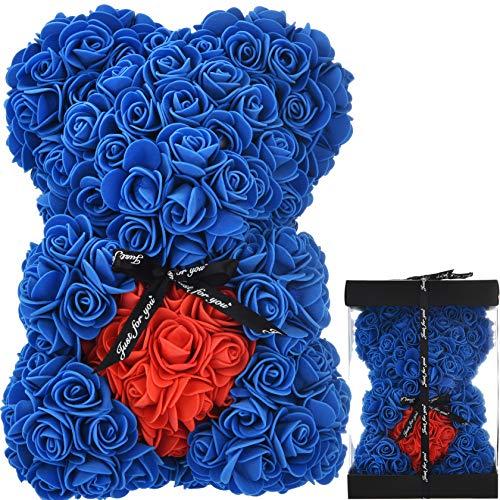 Oso de Rosas Flores Artificiales Peluche Oso - Regalos Originales para Mujer Regalo Mujer Novias Regalo Madres Regalos Mujeres Rosas Artificiales Aniversario cumpleaños de San Valentín (Azul Real)