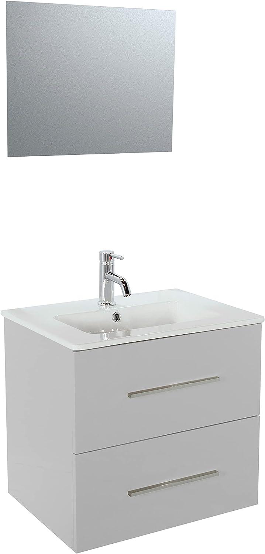 Ondé – Mueble colgante de 60 cm lacado brillante gris con dos cajones, encimera de cerámica simple lavabo – TANARO