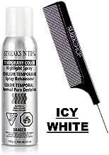 Streaks 'N Tips TEMPORARY COLOR Hair Dye Highlight Spray, Aerosol Haircolor Hairspray (w/Sleek Comb) Streaks And Tips (Icy White - 3.5 oz)