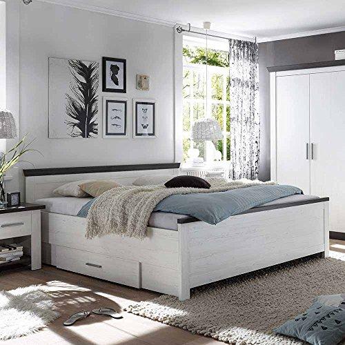 Pharao24 Bett mit Schubladen Pinie Weiß Breite 155 cm Liegefläche 140x200 Bettkasten Nein
