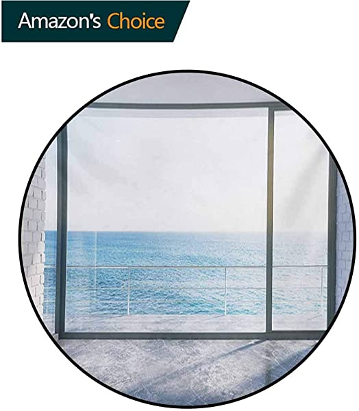 RUGSMAT White Modern Machine Washable Round Bath Mat Empty Urban Modern Loft Apartment Home With Ocean Sea Sunny Sky View Non Slip Soft Floor Mat Home Decor Round 31 Inch Sky Blue White And Black
