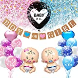 Baby Gender Reveal Party Dekoration Set, Girl Or Boy Geschlecht Offenbaren Ballon Mit Konfetti, Baby Folienballon, Boy Or Girl Banner, Deko für Baby Shower