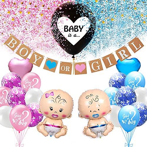 Juego de decoración fiesta revelación género bebé, globo de revelación de género de niña o niño con confeti, globo de lámina de bebé, pancarta de niño o niña, decoración para baby shower