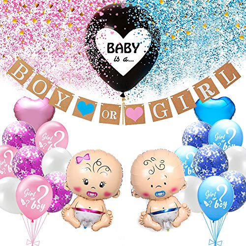 Baby Gender Reveal Party Decoration Set, Girl or Boy Gender Reveal Balloon with Confetti, Baby Foil Balloon, Boy or Girl Banner, Decoration for Baby Shower