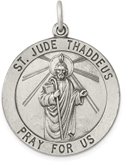 925 Sterling Silver Saint Jude Thaddeus Medal Pendant Charm Necklace Religious Patron St Fine Jewelry For Women