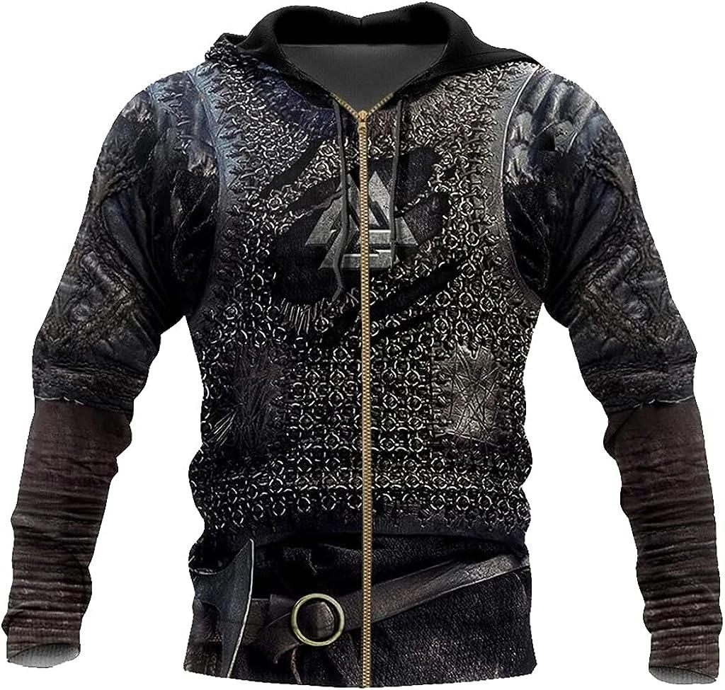 Viking Men Hoodie 3D Printed Valhalla Armor Sweatshirt Zip Fall Long Sleeve Casual Loose Pullover Jacket