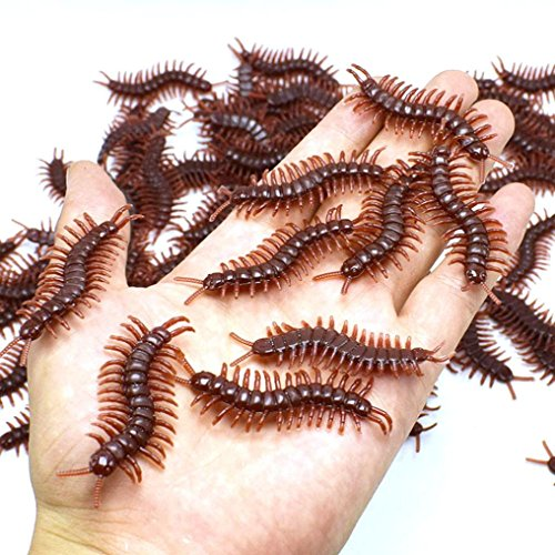 Livoty 10Pcs Creative PVC Artificial Centipede Insect Animal Model Toys Funny Spoof Toy (Black)