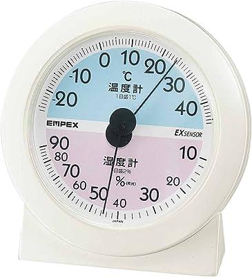 エンペックス気象計 温度湿度計 メモリア温湿度計 置き用 日本製 オフホワイト TM-2561