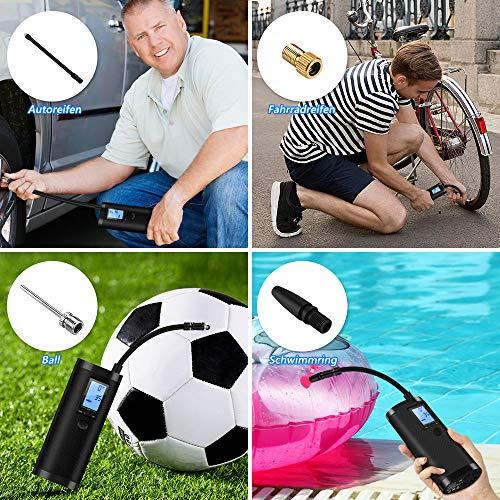 VEEAPE Elektrische Digitale Reifenpumpe mit 2000mAh Akku, 120PSI Fahrradluftpumpe Kompressor mit LCD-Bildschirm für Auto, Fahrrad, Motorrad, Basketball, Football usw. Als Taschenlampe und Powerbank. - 5