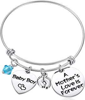 Hazado New Mommy Gifts, New Mom Charm Bracelet, A Mother's Love is Forever Jewelry for Women,Baby Boy Baby Girl Footprints,Heart Bracelet to New Mother