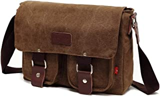 AUGUR Military Messenger Bag Retro Leinwand Echtes Leder Umhängetasche Männer und Frauen,Braun
