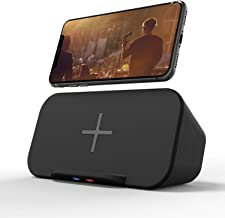 Bluetooth Speaker with Wireless Charger Stand, Premium Stereo Sound Speaker 18 Hours Playtime, 2 in 1 Home Audio Player Qi Charger Charging Compatible with iPhone, Samsung, Qi-Enabled Smartphones