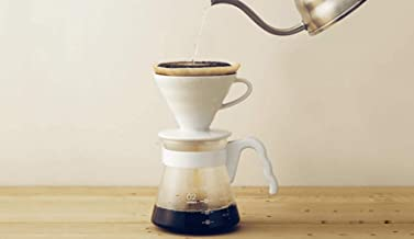 Hario V60 Size 02 Pour Over Set with Ceramic Dripper, Glass Server, Scoop and Filters, White, Simply Hario