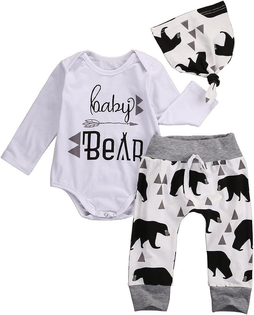 Infant Gorgeous Newborn Sales results No. 1 Baby Bear Arrow Romper Hat 3 Piece Pants Outfits