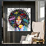 Graffiti Salon de Decoracion Colorido Arte Abstracto Retrato Mujer Potencia Cuadro Moderno Figura Figura Salon Recamara Poster Feminista Poster Feminista I14158