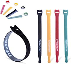 Reusable Cable Straps Wire Ties, Pack of 40 Trilancer Adjustable CordFastener Cable Organizer, 6 Inches 4 Colors