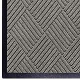 WaterHog Diamond   Commercial-Grade Entrance Mat with Rubber Border – Indoor/Outdoor, Quick Drying, Stain Resistant Door Mat (Medium Grey, 3' x 4')