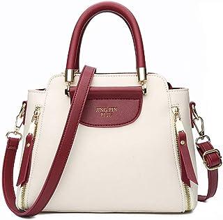 Women Bag Pu Leather Handbags Ladies Fashion Tote Bag Women Shoulder Messenger Bags Patchwork Handbag (Color : White, Size : M)