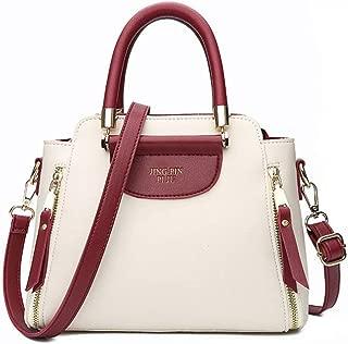 HZXALQDD Women Bag Pu Leather Handbags Ladies Fashion Tote Bag Women Shoulder Messenger Bags Patchwork Handbag 11 (Color : White, Size : M)