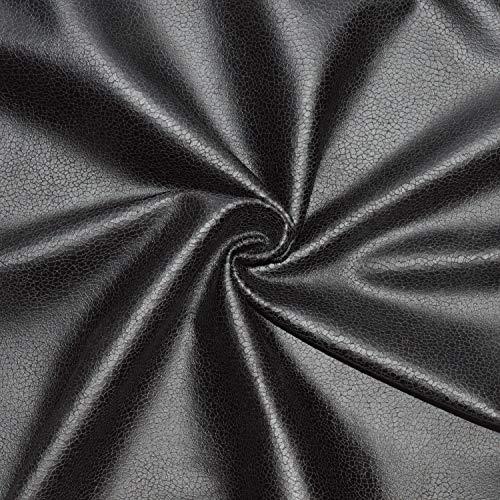 designers-factory - Tessuto scamosciato effetto similpelle, spessore medio, ottima qualità, tessuto finta pelle, tessuto scamosciato con rivestimento (scampolo di 1 m x 1 m40) Nero