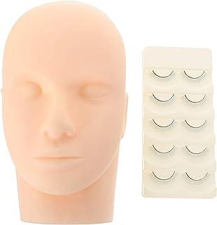 FRCOLOR Wimper Mannequin Hoofd Praktijk Kit Met 5 Paar Nep Wimpers Siliconen Make-Up Training Mannequin Platte Pop Gezicht...