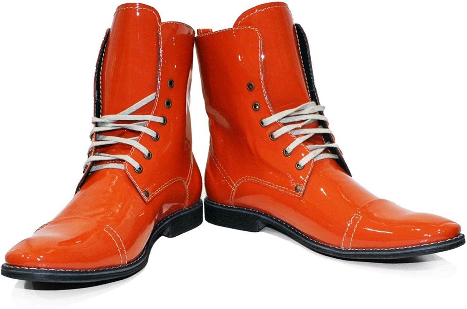Peppeshoes Modello Siciliano - Handmade Italian Leather Mens color orange High Boots - Cowhide Smooth Leather - Lace-Up