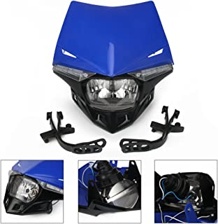 Universal Motorcycle Supermoto Headlight LED Dirt Bike Headlight Front Head Light For Yamaha YZ80 YZ85 YZ125 YZ250 YZ250F YZ400F YZ426F,Blue