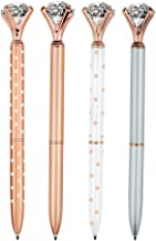 4 Pcs Rose Gold Pen with Big Diamond/Crystal,Metal Ballpoint Pen,Rose Gold White and..