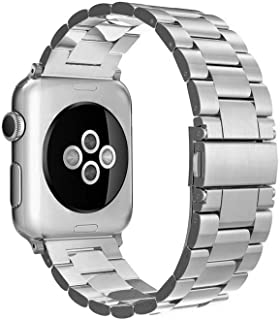 Simpeak Band Compatible with Apple Watch 38mm and 40mm Series 1 2 3 4 5, Women Men Business Band Strap Replacement for Apple Watch Series 5, Solid Stainless Steel, Silver