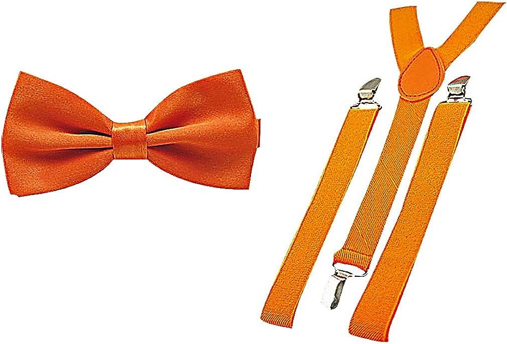 Celino Men Festive Bright Solid Color Polyester Bow Ties & Y Back Suspenders