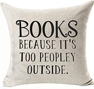 FaceYee Books Pillowcases for Student Classroom College School Decor Because It's Too Peopley Outside Pillows Covers Cushion Covers 18x18 Two Side Linen Invisible Zipper Color:Books